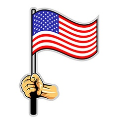 hand holding us flag vector image