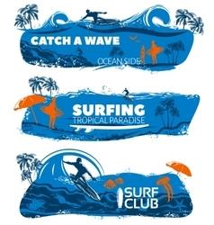 Surfing Banner Set vector image