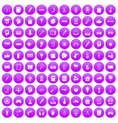 100 creative idea icons set purple vector