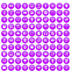 100 website icons set purple vector image