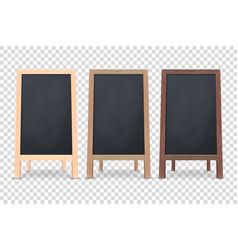3d realistic blank wooden chalk board vector
