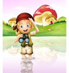 A girl at the lake with her telescope vector image