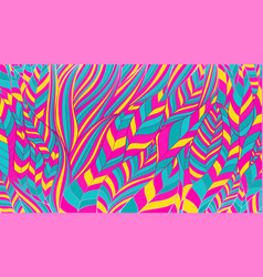 Abstract pattern from wavy lines in acid color vector