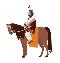 American indian man wearing ethnic clothes sitting vector