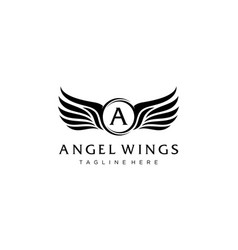 Angel wings logo design concept vector
