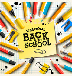 back to school design with pencils and sticky vector image