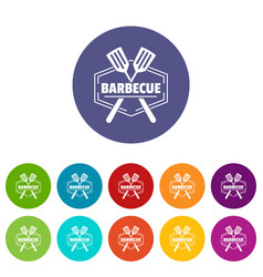 barbecue icons set color vector image