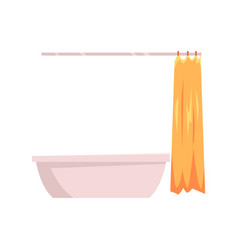 bathtub with yellow open shower curtain vector image