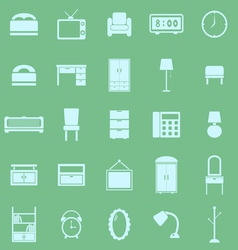 Bedroom color icons on green background vector image