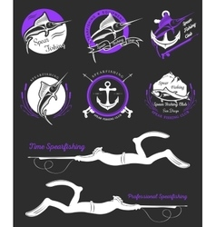 Big Set of Logos Badges and Icons Spearfishing vector