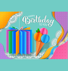 birthday bright banner design made colored paper vector image