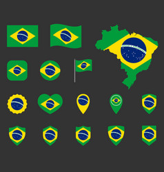 brazil flag icons set symbols flag of vector image