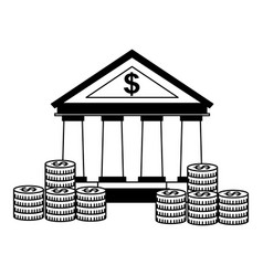 business bank stacked coins money vector image