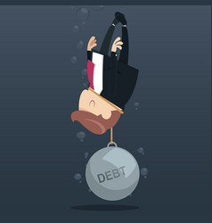 businessman appeal for aid because debt weigh vector image