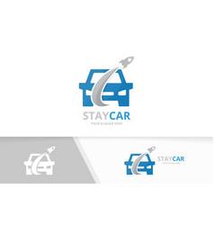 car and rocket logo combination vehicle vector image