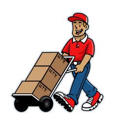 cartoon happy warehouse worker mascot vector image