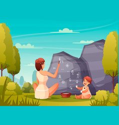 Caveman painting flat composition vector