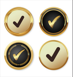 Check mark golden button vector