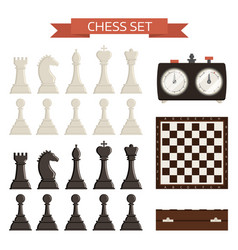 Chess board and chessmen isolated on white vector