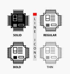 chip cpu microchip processor technology icon in vector image