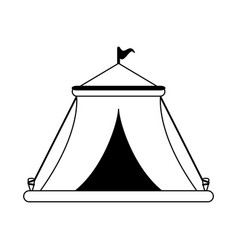 Circus festival tent with flag in black and white vector