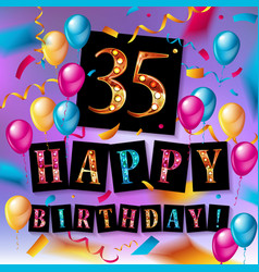 Color 35 th birthday celebration vector