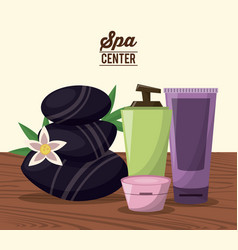 color poster of spa center with black stones and vector image