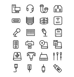 Computer Hardware Line Icons 4 vector image