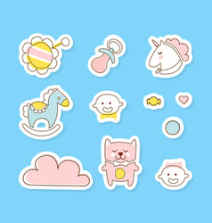 cute bastickers collection baboy or girl vector image