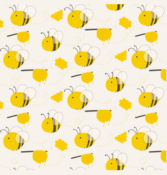 Cute bee pattern background vector