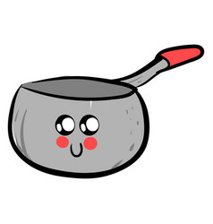 Cute saucepan with eyes on white background vector