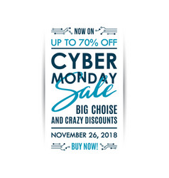 cyber monday sale vertical banner design isolated vector image