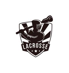 Emblem seal badge lacrosse man team logo template vector