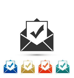 envelope with document and check mark icon vector image