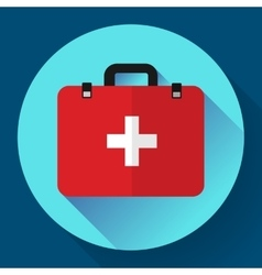 First aid case flat icon with shadow vector image vector image