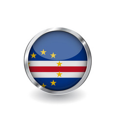 flag of cape verde button with metal frame and vector image