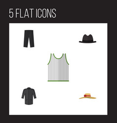flat icon garment set of panama elegant headgear vector image