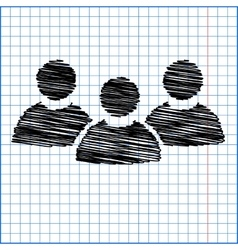 Flat icon of team work with pen effect on paper vector image