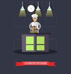 flat of confectioner and cake vector image vector image