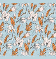 floral botanical print white rose modern seamless vector image