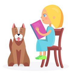 girl sitting on wooden chair with book and pet vector image