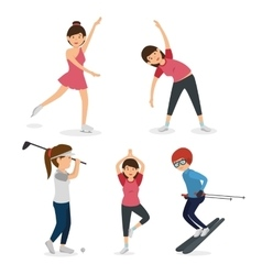 group of athletes avatars characters vector image