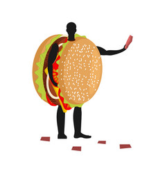 hamburger costume man mascot promoter male in vector image