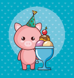 happy birthday card with cute pig vector image
