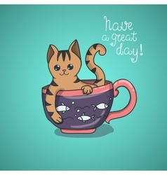 Have a nice day cute cat doodle vector