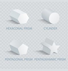 hexagonal prism and cylinder vector image