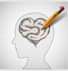 human brain as heart vector image