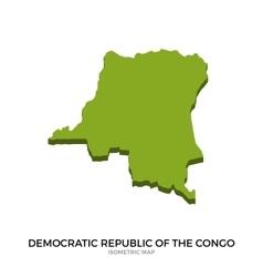 Isometric map democratic republic congo vector