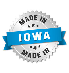 Made in iowa silver badge with blue ribbon vector