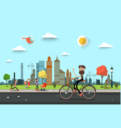 man on bicycle on street with people on city park vector image
